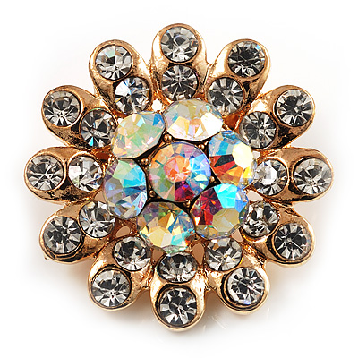 Tiny AB Crystal Daisy Pin Brooch (Gold Tone)