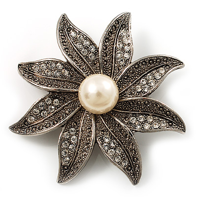 Antique Silver Simulated Pearl Crystal Flower Brooch