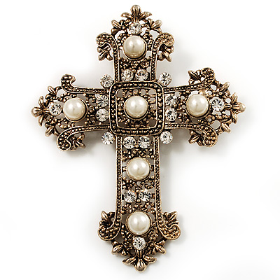 Large Victorian Filigree Pearl Style Crystal Cross Brooch (Antique Gold)