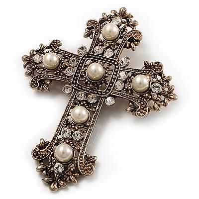 Avalaya Large Victorian Filigree Imitation Pearl Crystal Cross Brooch (Antique Silver) UQH29