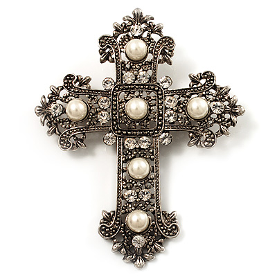 Large Victorian Filigree Pearl Style Crystal Cross Brooch (Antique Silver)