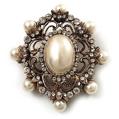 Antique Gold Filigree Light Cream Simulated Pearl Corsage Brooch - 60mm L - main view