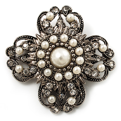 Vintage Filigree Simulated Pearl Cross Brooch (Antique Silver) - main view