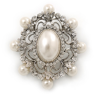 Silver Tone Filigree Light Cream Simulated Pearl Corsage Brooch - 60mm L - main view