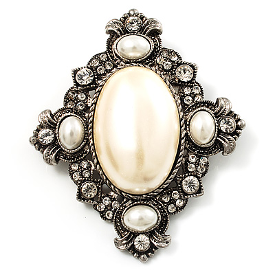Vintage Oval Simulated Pearl Diamante Brooch (Antique Silver) - main view