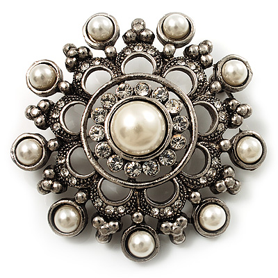 Antique Silver Filigree Simulated Pearl Corsage Brooch