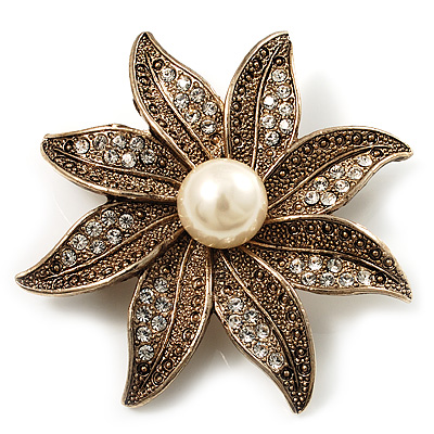 Antique Gold Pearl Crystal Flower Brooch