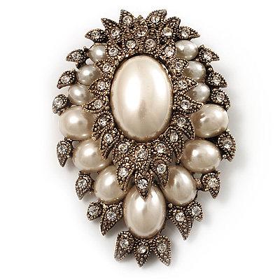 Oversized Vintage Corsage Imitation Pearl Brooch (Antique Gold) - main view