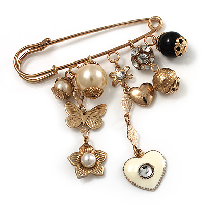 'Heart, Butterfly, Flower & Bead' Charm Safety Pin (Gold Tone) - main view