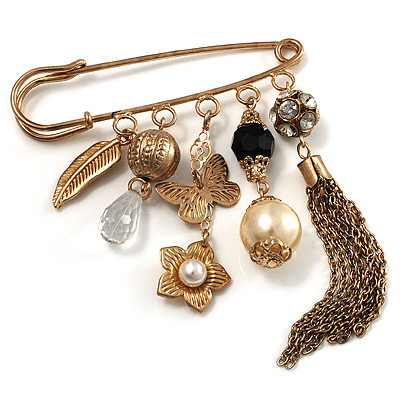 'Tassel, Leaf, Butterfly, Flower & Bead' Charm Safety Pin (Gold Tone) - main view