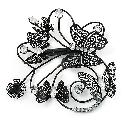 Oversized Black Crystal Filigree Flower And Butterfly Crystal Brooch (Catwalk - 2014) - main view