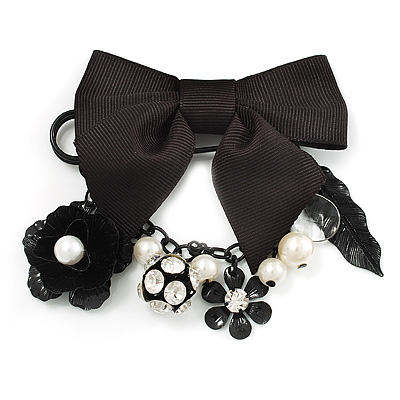 'Bow, Rose, Crystal Ball & Pearl Bead' Charm Black Tone Safety Pin Brooch (Catwalk - 2013)
