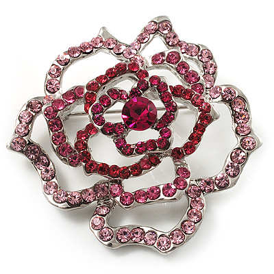 Stunning Pink Crystal Rose Brooch (Silver Tone) - main view