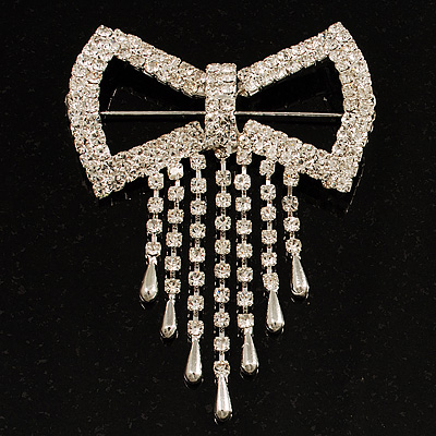 Enchanting Square Diamante Bow Charm Brooch (Silver Tone)