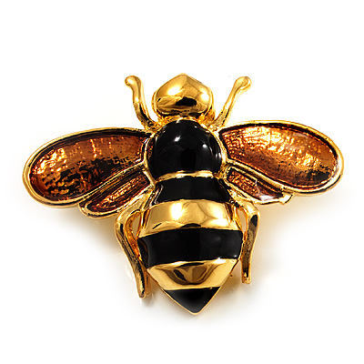 Gold Plated Bee Pin (Black &amp; Light Brown)