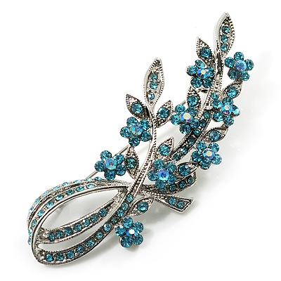 Romantic Swarovski Crystal Floral Brooch (Silver &amp; Light Blue)