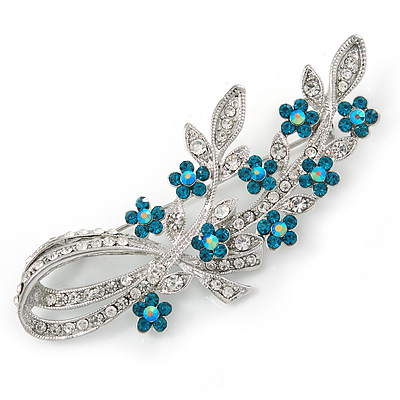 Romantic Swarovski Crystal Floral Brooch In Rhodium Plating Clear & Teal Blue - 75mm L