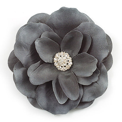 Large Light Grey Crystal Satin Flower Brooch