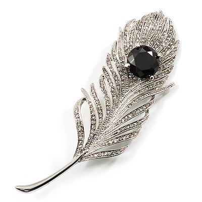 Large Swarovski Crystal Peacock Feather Silver Tone Brooch (Clear &amp; Black) - 11.5cm Length