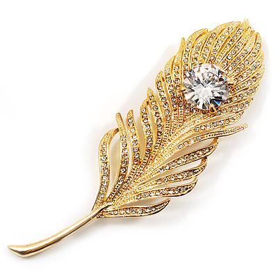 Large Swarovski Crystal Peacock Feather Gold Tone Brooch (Clear) - 11.5cm Length