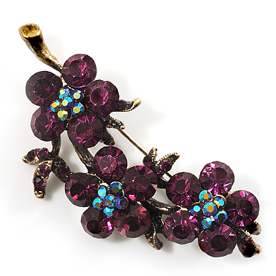 Swarovski Crystal Floral Brooch (Antique Gold & Deep Purple) - main view