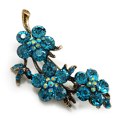 Swarovski Crystal Floral Brooch (Antique Gold & Green Teal)