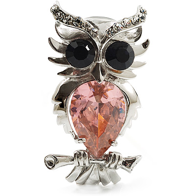 Silver Tone Stunning CZ Owl Brooch (Pink &amp; Navy Blue)