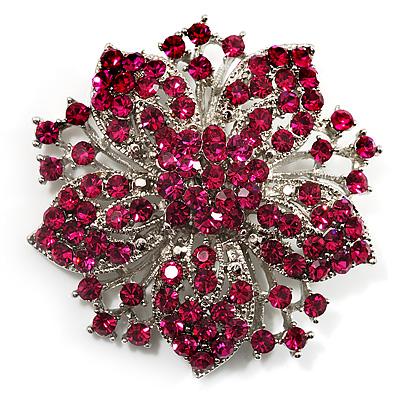 Victorian Corsage Flower Brooch (Silver & Bright Magenta)