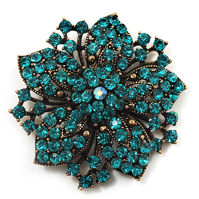 Victorian Corsage Flower Brooch (Antique Gold &amp; Teal)