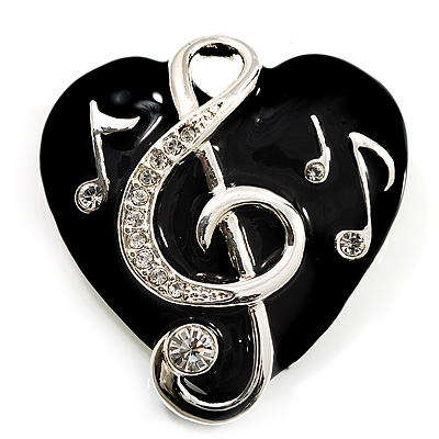 Black Enamel Crystal 'Musical Heart' Brooch (Silver Tone Metal)