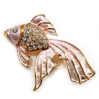 Light Pink Enamel Crystal Fish Brooch (Gold Plated Metal)
