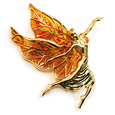Gold Magical Flying Fairy (Bright Orange & Pale Green)
