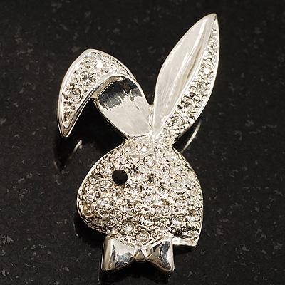 Cute Diamante Bunny Brooch (Silver Tone)