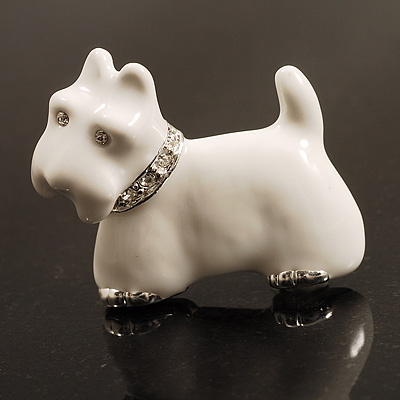 Snow White Crystal Enamel Scotty Dog Brooch (Silver Tone)
