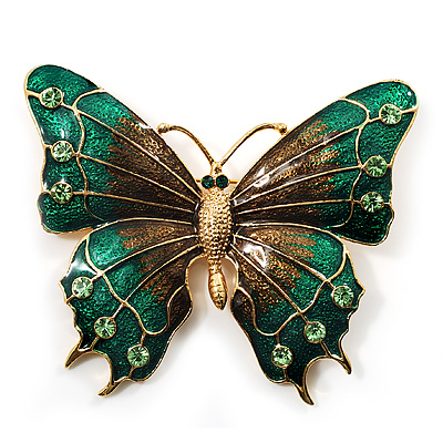 Oversized Green Enamel Butterfly Brooch (Gold Tone Metal) - main view