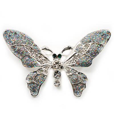 Glittering Silver Tone Diamante Butterfly Brooch