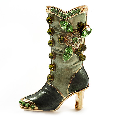 Olive Green Enamel Crystal High Boot Pin Brooch (Gold Tone Metal) - main view