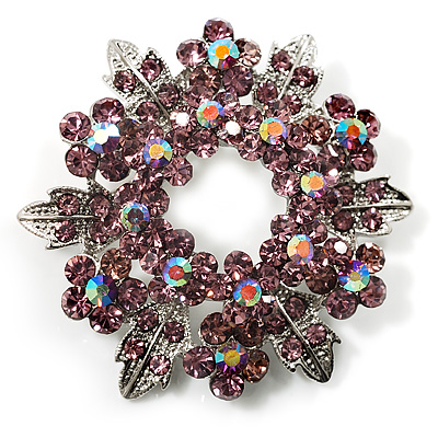 Lavender Crystal Wreath Brooch (Silver Tone Metal)