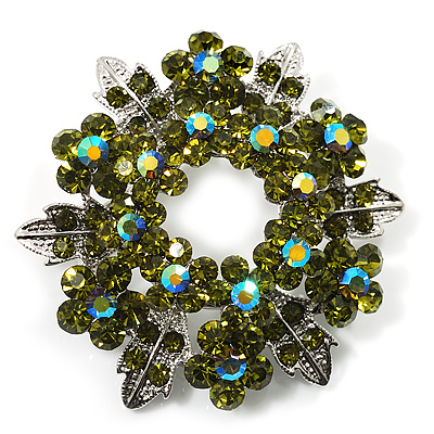 Light Olive Green Crystal Wreath Brooch (Silver Tone Metal)