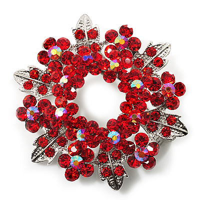 Bright Red Crystal Wreath Brooch (Silver Tone Metal)