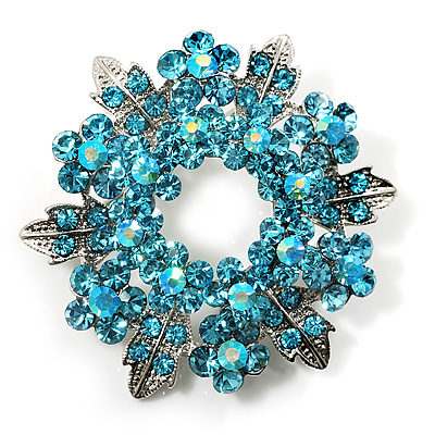 Light Blue Crystal Wreath Brooch (Silver Tone Metal)