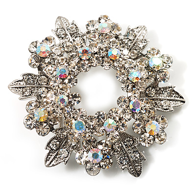 Clear Crystal Wreath Brooch (Silver Tone Metal)