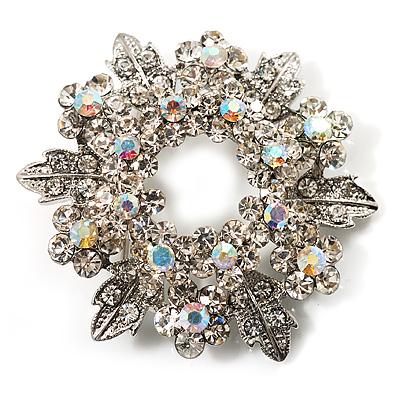 Clear Crystal Wreath Brooch (Silver Tone Metal)