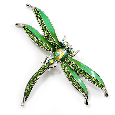 Salad Green Enamel Dragonfly Brooch