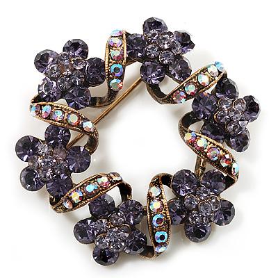 Antique Gold Lavender Crystal Wreath Brooch