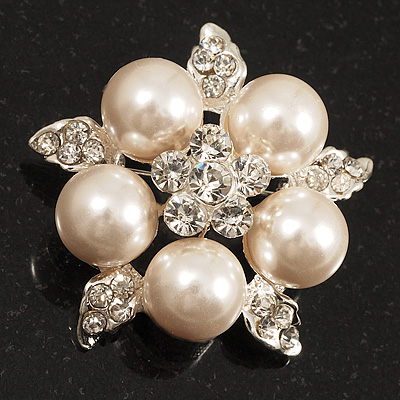 Stunning Bridal Pearl Crystal Brooch (Snow White &amp; Silver)