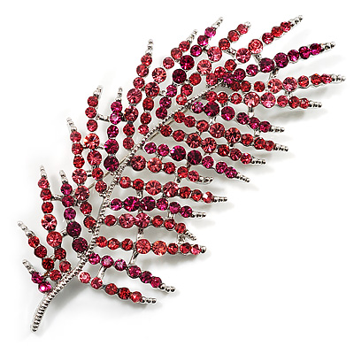 Stunning Large Crystal Leaf Brooch (Pink &amp; Fuchsia)
