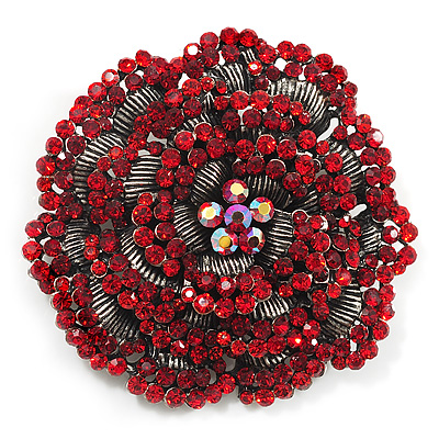 Spectacular Hot Red Dimensional Rose Brooch (Antique Silver Tone)