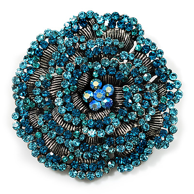 Spectacular Aqua Blue Dimensional Rose Brooch (Antique Silver Tone)