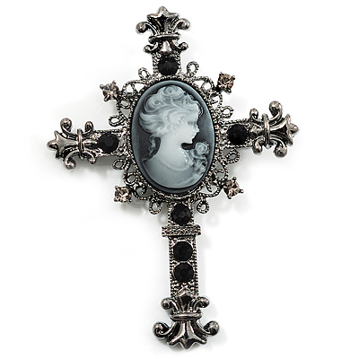 Victorian Style Cross Cameo Brooch (Gun Metal) - main view